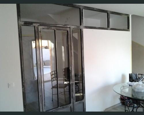 Verrière d intérieur en métal brossé